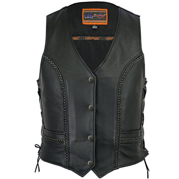 Daniel Smart - Women's Premium Braided Leather Vest - DS272 Women's Leather Vests Virginia City Motorcycle Company Apparel