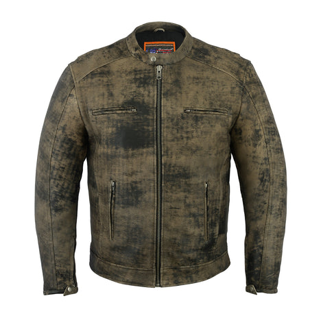 Men's Antique Brown Cruiser Motorcycle Leather Jacket - DS736 Men's Jackets Virginia City Motorcycle Company Apparel