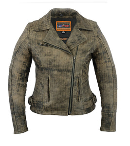 DS836 Women's Updated Stylish Antique Brown M/C Jacket Women's Jackets Virginia City Motorcycle Company Apparel