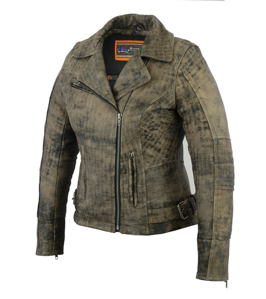 Ladies Updated Stylish Antique Brown Motorcycle Jacket - DS836 Women's Jackets Virginia City Motorcycle Company Apparel