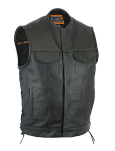"Daniel Smart - Men's Leather Vest w/ Gun Pockets, Hidden 10"" Gun Metal Zipper - DS178 Men's Leather Vests Virginia City Motorcycle Company Apparel"