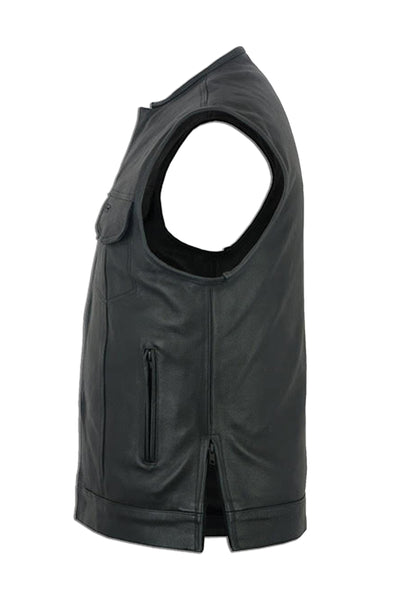 Daniel Smart - Men's Leather Vest w/ Gun Pockets, Front Snap/Zipper, Hidden Side Zippers - DS177 Men's Leather Vests Virginia City Motorcycle Company Apparel
