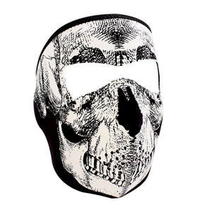 ZAN® Full Mask- Neoprene- B&W Skull, Glow in the Dark - WNFM002G Full Facemasks Virginia City Motorcycle Company Apparel