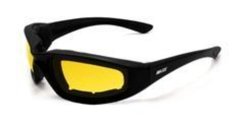 Maxx HD Protective Foam Sunglasses w/ Black rims and Yellow Lens Sunglasses Virginia City Motorcycle Company Apparel