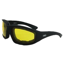 Kickback 24 Foam Padded Motorcycle Sunglasses w/ Yellow Lenses - 24KickbackYT Photochromatic Glasses Virginia City Motorcycle Company Apparel