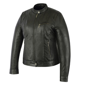 Ladies Stylish Fashion Leather Riding Jacket - DS840 Women's Jackets Virginia City Motorcycle Company Apparel