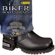 BBS/GR6 Weather Proof- Boot Straps- Grim Reaper- 6 Inch Biker Boot Straps Virginia City Motorcycle Company Apparel