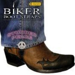 Weather Proof- Boot Straps- Studded Peace- 4 Inch - BBS/SP4 Biker Boot Straps Virginia City Motorcycle Company Apparel