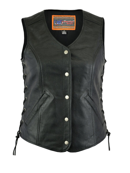 Daniel Smart - Women's Leather Longer Body 3/4 Vest w/ Side Laces Vest- DS206 Women's Leather Vests Virginia City Motorcycle Company Apparel
