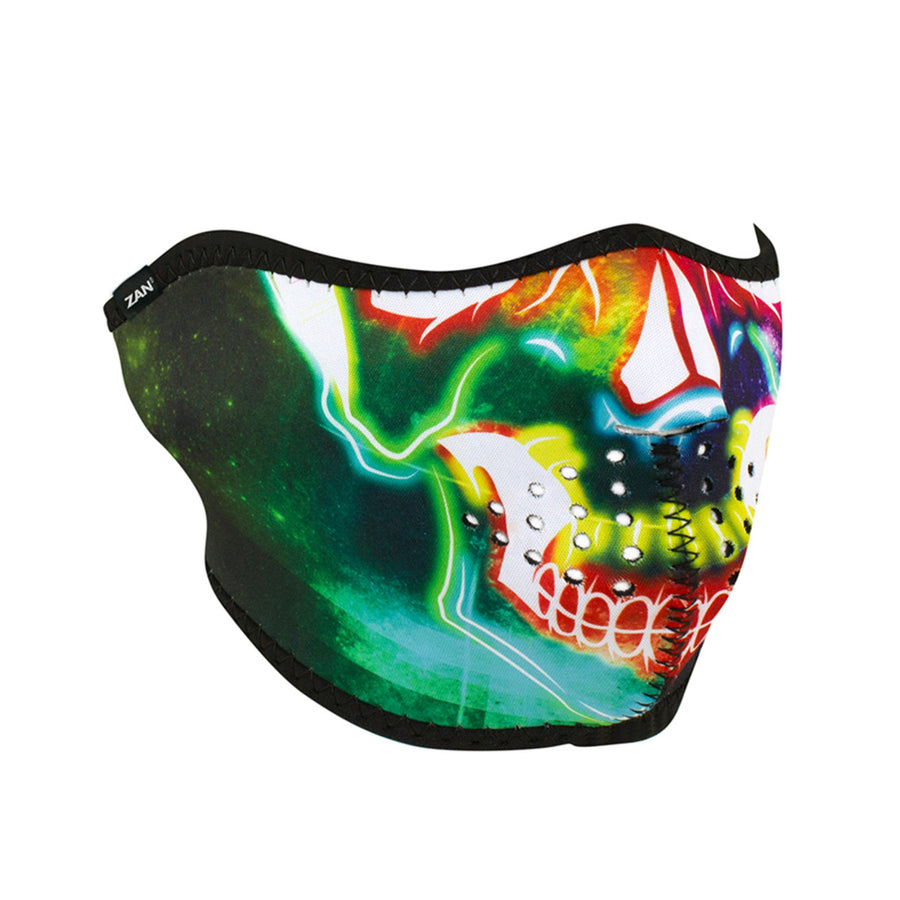ZAN® Half Mask- Neoprene- Neon Skull - WNFM098H Half Facemasks Virginia City Motorcycle Company Apparel