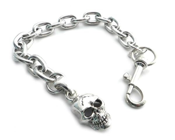 "Bracelet - Skull Pendant on link Chain Bracelet 8"" Bracelets Virginia City Motorcycle Company Apparel"