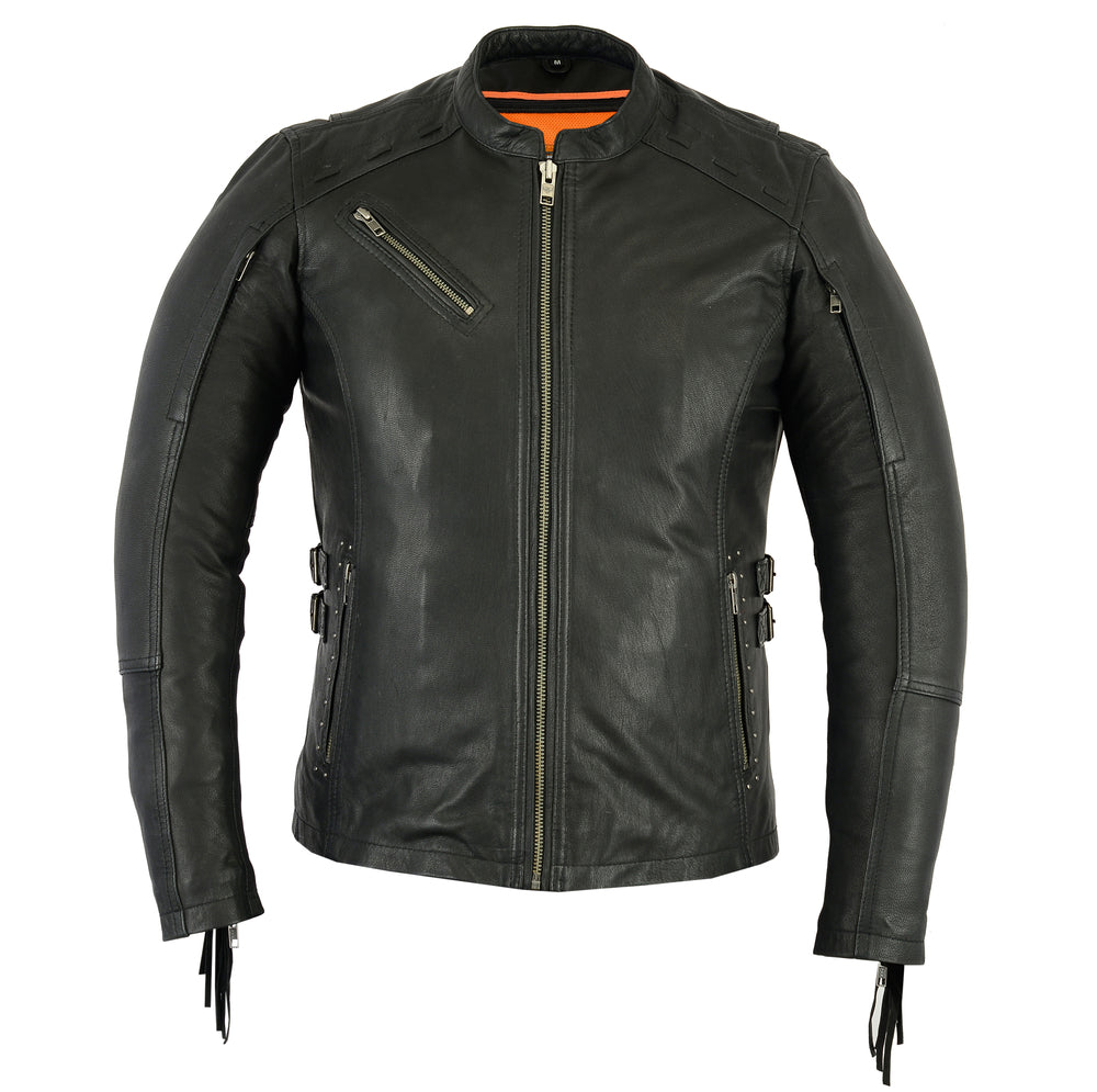 Women's Stylish Leather Jacket with Fringe - DS880 Women's Jackets Virginia City Motorcycle Company Apparel