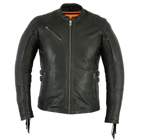 DS880 Women's Stylish Leather Jacket with Fringe Women's Jackets Virginia City Motorcycle Company Apparel