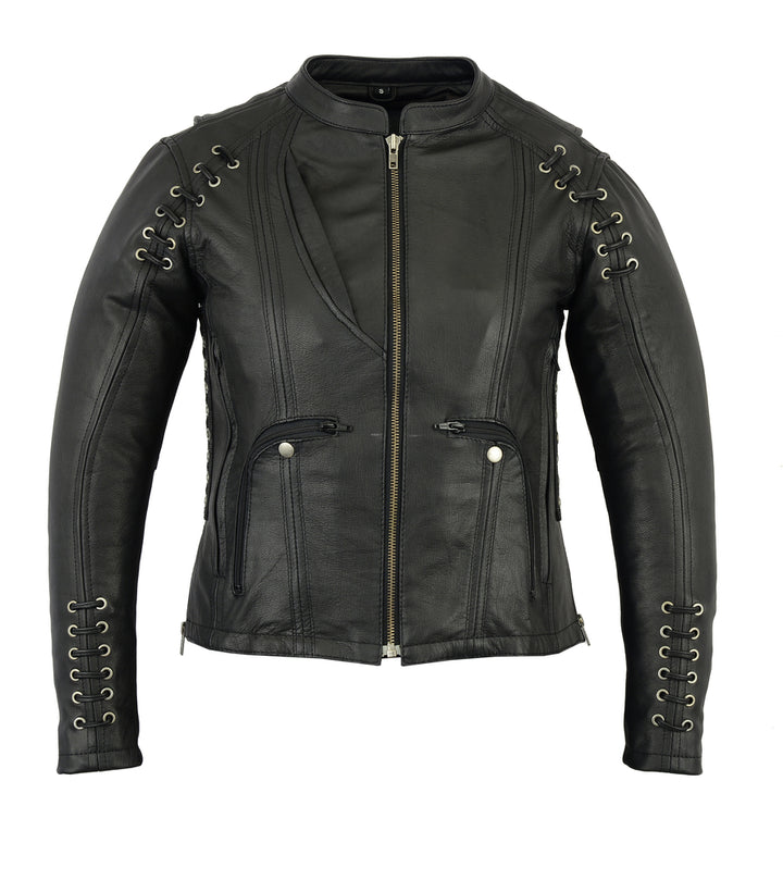 Women's Leather Jacket with Grommet and Lacing Accents - DS885 Women's Jackets Virginia City Motorcycle Company Apparel