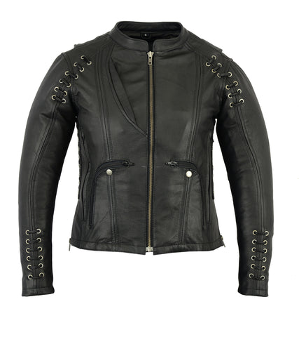 DS885 Women's Leather Jacket with Grommet and Lacing Accents Women's Jackets Virginia City Motorcycle Company Apparel
