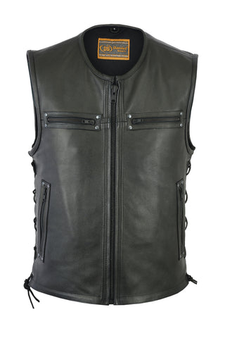 Daniel Smart -  Men's Zipper Front Single Back Panel Concealed Carry Vest - DS146 Men's Leather Vests Virginia City Motorcycle Company Apparel