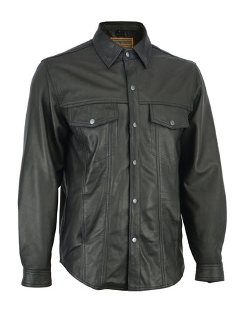 Men's Premium Lightweight Leather Shirt - DS770 Men's Jackets Virginia City Motorcycle Company Apparel