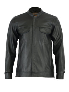 DS788 Men's Full Cut Leather Shirt with Zipper/Snap Front Men's Jackets Virginia City Motorcycle Company Apparel