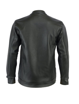 Men's Full Cut Leather Shirt with Zipper/Snap Front - DS788 Men's Jackets Virginia City Motorcycle Company Apparel