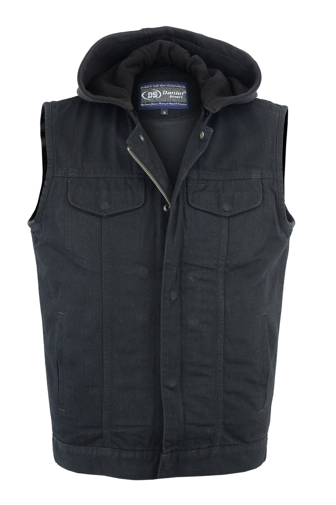 Daniel Smart -Men's Black Denim Single Back Panel Concealment Vest w/Removable Hood - DM982 Men's Denim Vests Virginia City Motorcycle Company Apparel