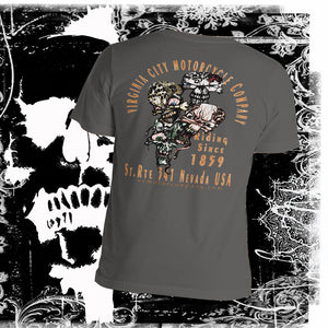VC Motor Co. Pit Crew -  Men's Retro  Skull T-Shirt Men's Shirts Virginia City Motorcycle Company Apparel