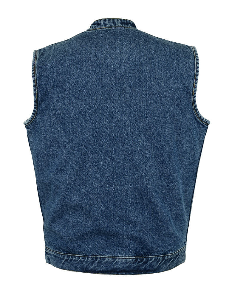 Daniel Smart -Men's Hidden Snap/Zipper Closure, Denim, Conceal Carry,  Scoop Collar Men's Denim Vest - DM989BU Men's Vests Virginia City Motorcycle Company Apparel