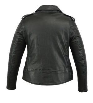 Women's Classic Plain Side Fitted Leather Motorcycle Jacket - DS850 Women's Jackets Virginia City Motorcycle Company Apparel
