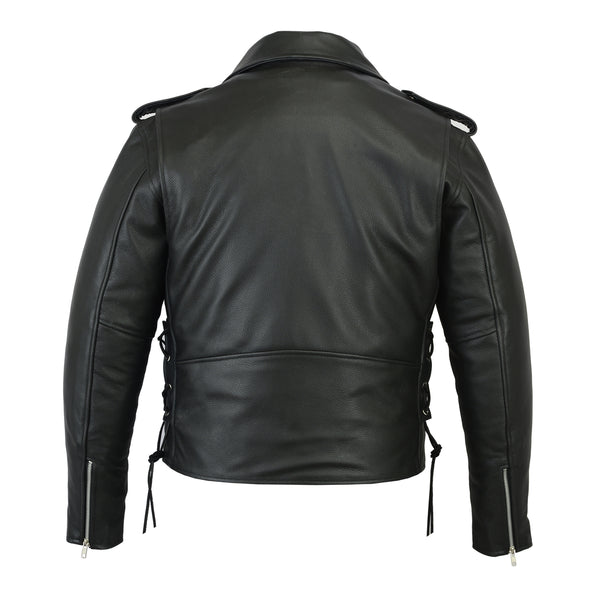 Men's Classic Side Lace Police Style Motorcycle Jacket - DS731 Men's Jackets Virginia City Motorcycle Company Apparel