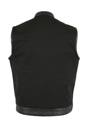 Daniel Smart - Men's Canvas Single Back Panel Concealment Vest W/Leather Trim - DS685 Men's Vests Virginia City Motorcycle Company Apparel