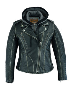 DS877 Women's Motorcycle Jacket w/ Hoodie Liner Women's Jackets Virginia City Motorcycle Company Apparel