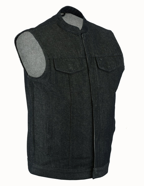 Daniel Smart -Men's Rough Rub-Off Raw Finish Denim Vest - DM977 Men's Denim Vests Virginia City Motorcycle Company Apparel