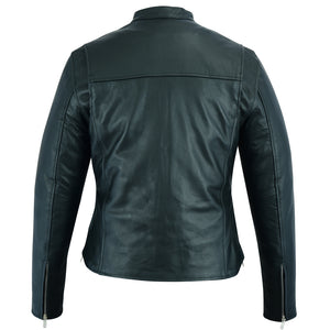 Women's Full Cut Leather No Collar Motorcycle Jacket - DS839 Women's Jackets Virginia City Motorcycle Company Apparel
