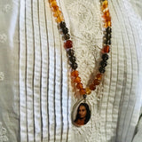 Grace Red Agate & Smokey Quartz Mala