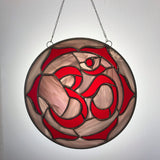 Ruby Red Om Stained Glass