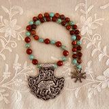 Gajaraja Turquoise & Red Jasper Necklace