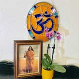 Blue & Gold Om Stained Glass