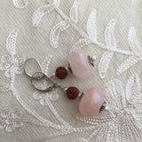 Yogini Rose Quartz & Rudraksha Earrings