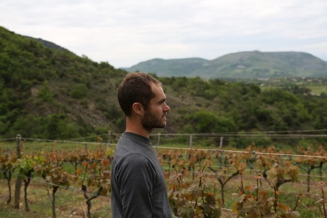 Martin Texier natural winemaker in Ardech, France, making natural wine with classic Rhone varietals