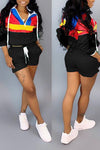 Wearvip Sporty Long Sleeve Hooded Color Patchwork Short Sets