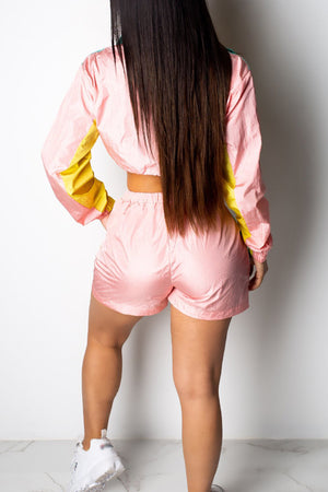 Wearvip Sporty Long Sleeve Color Patchwork Shorts Sets
