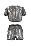 Wearvip Casual See-through Shining Shorts Sets