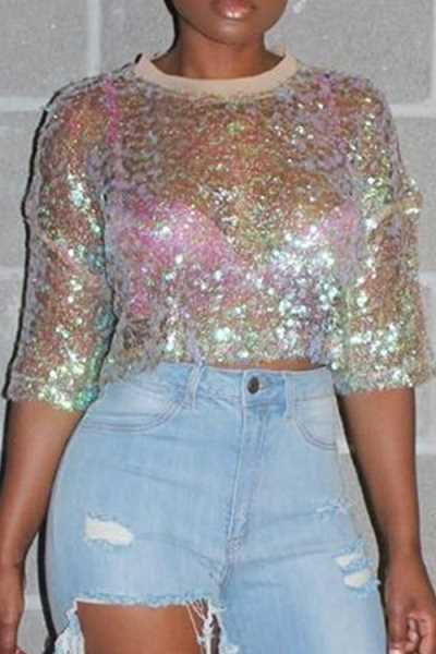 Wearvip Casual Half Sleeve Sequined See-through T-shirt