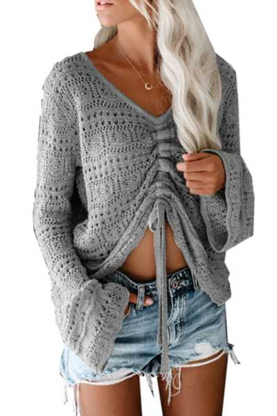 Wearvip Casual V-neck Lace Up Hollow Out Sweater