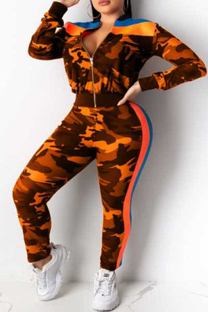 Wearvip Sporty Color Patchwork Camouflage Print Pants Sets