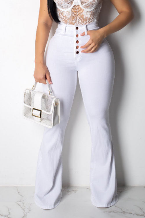 Wearvip Casual Mid Rise Buttons Flare Leg White Jeans