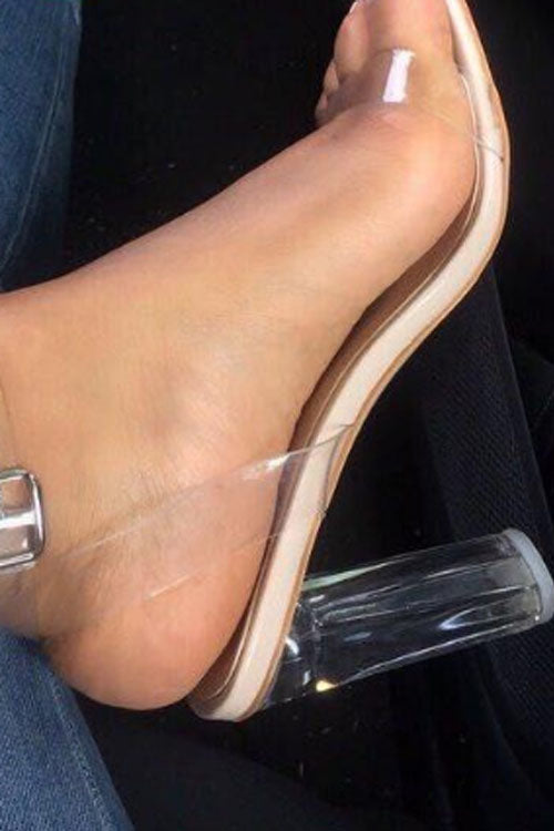 Wearvip Casual Sheer High-heeled Sandals