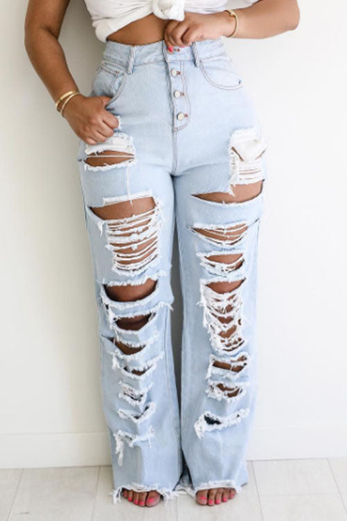 Wearvip Casual High Rise Ripped Mill White Loose Jeans