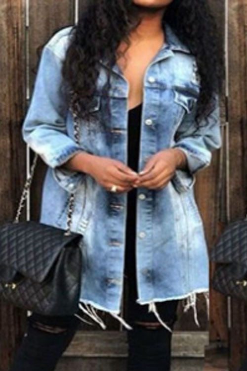 Wearvip Casual Lapel Long Denim Coat