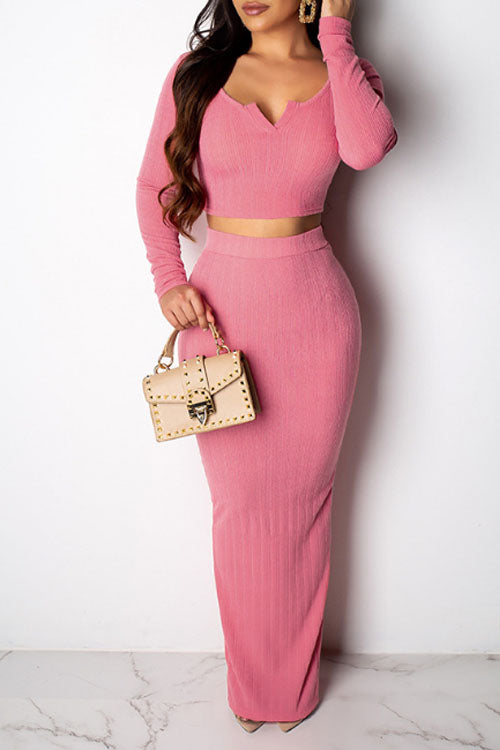 Wearvip Casual V-neck Long Sleeve Solid Color Skirt Sets