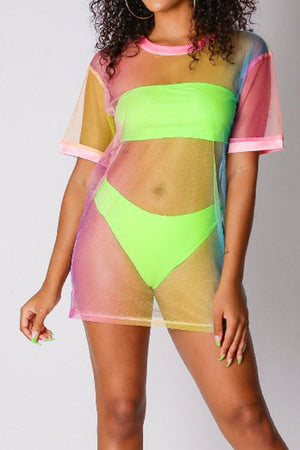 Wearvip Bohemian See-through Solid Color Bikini(with tissue outwear)